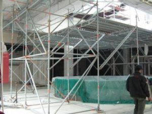Изграждане на скеле за Ротонди, София